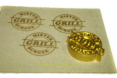 Stamp for hot embossing on wood